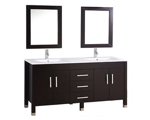 "Monaco 72"" Double Sink Bathroom Vanity Set, Espresso"