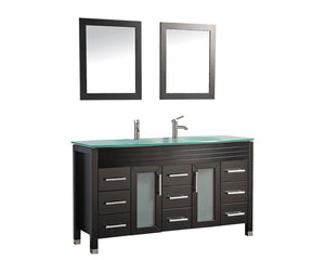 "Figi 63"" Double Sink Bathroom Vanity Set, Espresso"