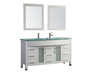 "Figi 63"" Double Sink Bathroom Vanity Set, White"