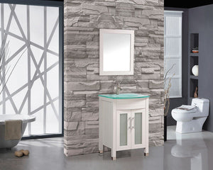 "Figi 24"" Single Sink Bathroom Vanity Set, White"