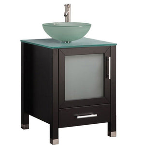 "Cuba 24"" Single Sink Bathroom Vanity Set, Espresso"