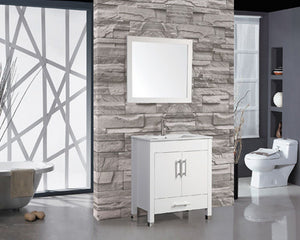 "Monaco 30"" Single Sink Bathroom Vanity Set, White"