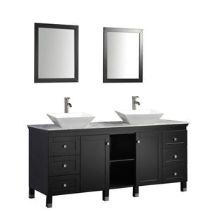 "Belarus 72"" Double Sink Bathroom Vanity Set, Espresso"