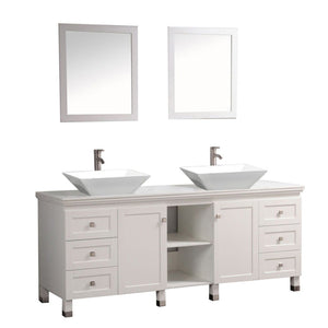 "Belarus 72"" Double Sink Bathroom Vanity Set, White"