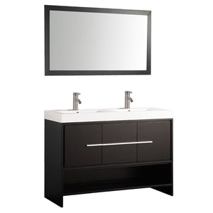 "Belarus 48"" Double Sink Bathroom Vanity Set, Espresso"