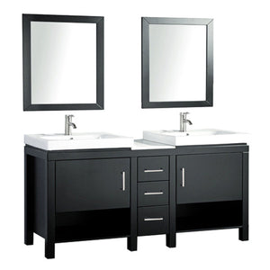 "Belarus I 60"" Double Sink Bathroom Vanity Set, Espresso"