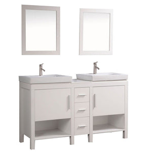 "Belarus I 60"" Double Sink Bathroom Vanity Set, White"