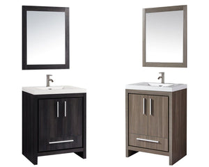 "Miami 24"" Single Sink Bathroom Vanity Set, Black Walnut"