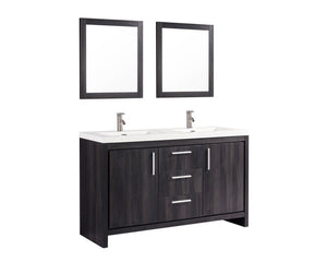 "Miami 60"" Double Sink Bathroom Vanity Set, Black Walnut"