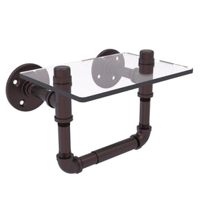Allied Brass - Pipeline Collection Toilet Tissue Holder with Glass Shelf