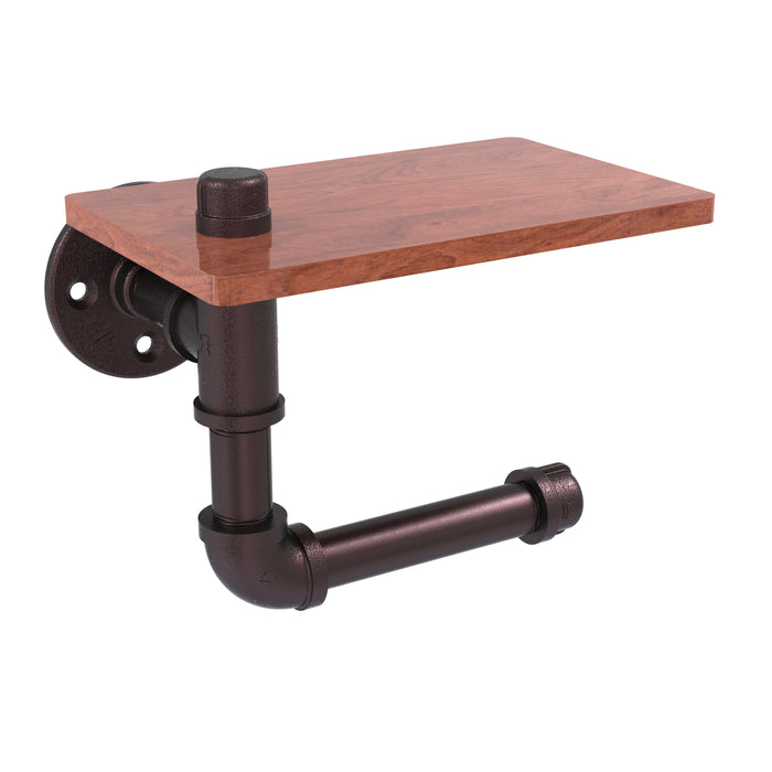 Allied Brass - Pipeline Collection Toilet Paper Holder with Wood Shelf