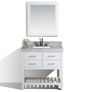 "Pacific - 40"" Laguna White Single Modern Bathroom Vanity With White Marble Top, Undermount Sink And Mirror"