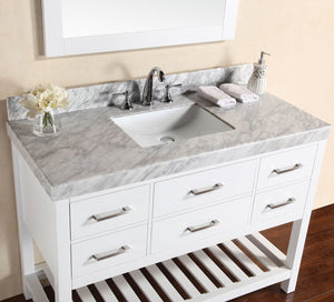 "Pacific - 48"" Laguna White Single Modern Bathroom Vanity With White Marble Top, Undermount Sink And Mirror"