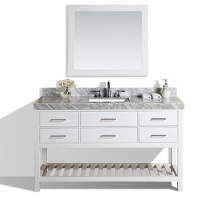 "Pacific - 60"" Laguna White Single Modern Bathroom Vanity With White Marble Top, Undermount Sink And Mirror"