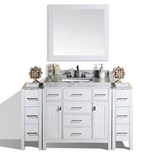 "Pacific - 64"" Malibu White Single Modern Bathroom Vanity With 2 Side Cabinets, White Marble Top With Undermount Sink And Mirror"