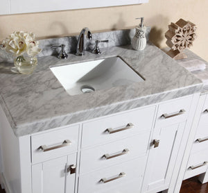 "Pacific - 64"" Malibu White Single Modern Bathroom Vanity With 2 Side Cabinets And White Marble Top With Undermount Sink"