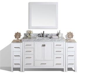 "Pacific - 84"" Malibu White Single Modern Bathroom Vanity With 2 Side Cabinets, White Marble Top With Undermount Sink And Mirror"