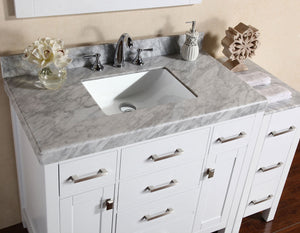 "Pacific - 52"" Malibu White Single Modern Bathroom Vanity With Side Cabinet And White Marble Top With Undermount Sink"