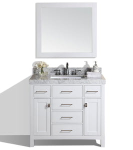 "Pacific - 40"" Malibu White Single Modern Bathroom Vanity With White Marble Top, Undermount Sink And Mirror"
