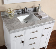 "Pacific - 40"" Malibu White Single Modern Bathroom Vanity With White Marble Top And Undermount Sink"