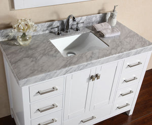 "Pacific - 48"" Malibu White Single Modern Bathroom Vanity With White Marble Top, Undermount Sink And Mirror"