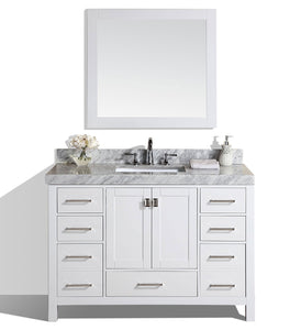 "Pacific - 60"" Malibu White Single Modern Bathroom Vanity With White Marble Top, Undermount Sink And Mirror"