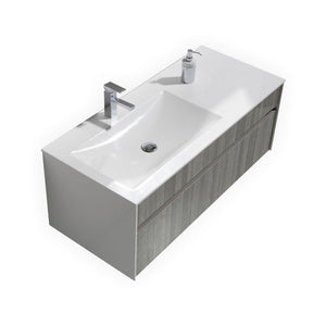"Fitto 48"" Ash Gray Wall Mount Modern Bathroom Vanity - Single Sink"