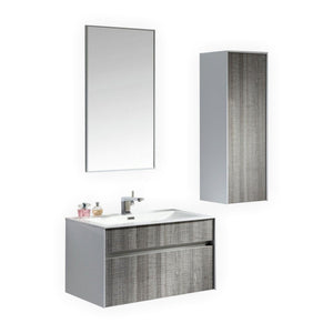 "Fitto 32"" Ash Gray Wall Mount Modern Bathroom Vanity"