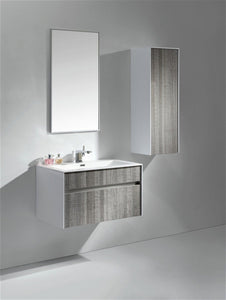 "Kubebath - Fitto 32"" Ash Gray Wall Mount Modern Bathroom Vanity"