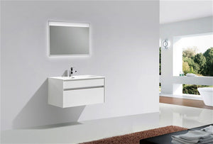 "Kubebath - Fitto 36"" High Gloss White Wall Mount Modern Bathroom Vanity"