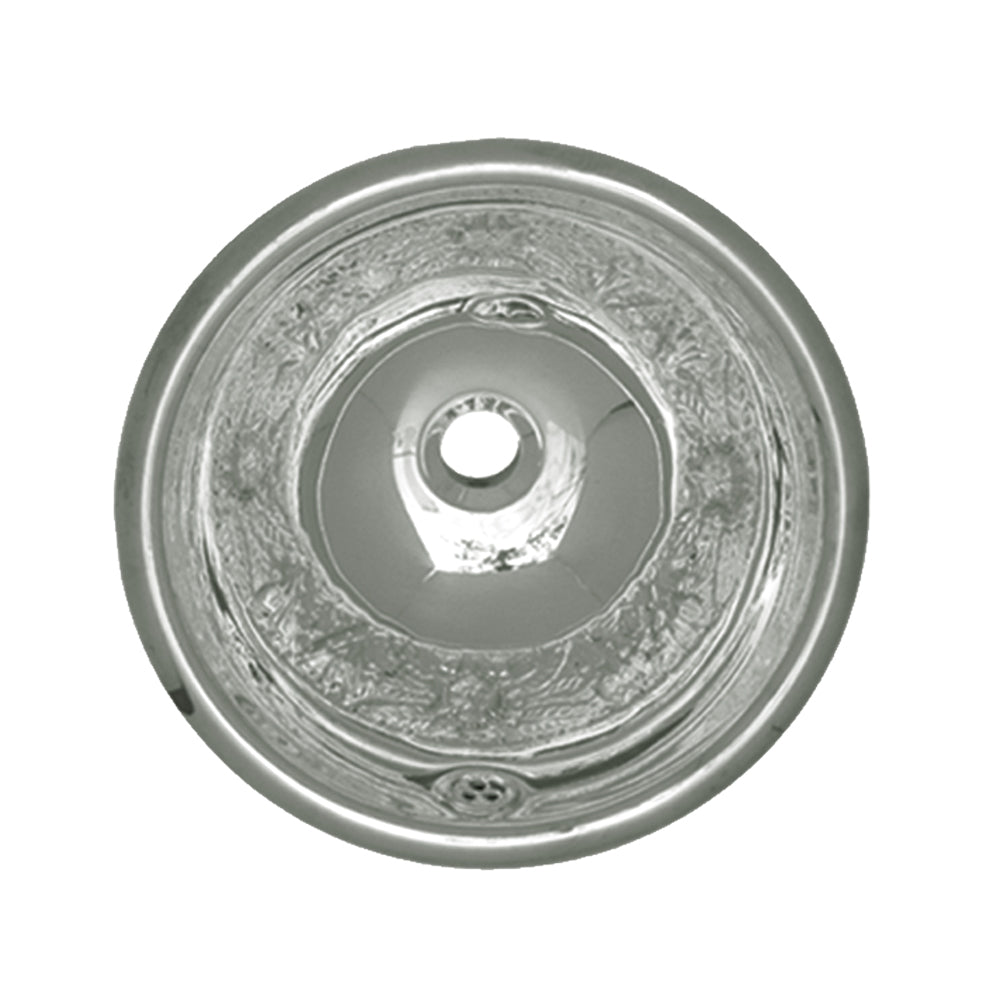 Decorative Round Floral Pattern Drop-In Basin With Overflow And A  1 1/4