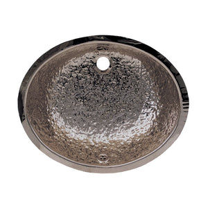 "Decorative Oval Hammered Textured Undermount Basin With Overflow And A 1 1/4"" Rear Center Drain"