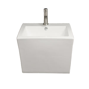 Isabella Collection Trapezoid Shaped Wall Mount Basin With Integrated Rectangular Bowl And A Center Drain