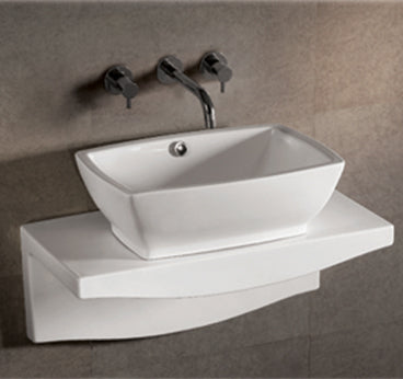 Isabella Collection Rectangular Above Mount Basin With Overflow, Center Drain And Matching Wall Mount Counter Top