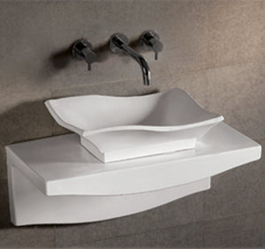 Isabella Collection Rectangular Above Mount Basin With Offset Center Drain And Matching Wall Mount Counter Top