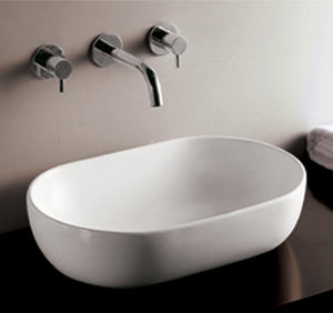 Isabella Collection Oval Abaove Mount Basin With A Center Drain