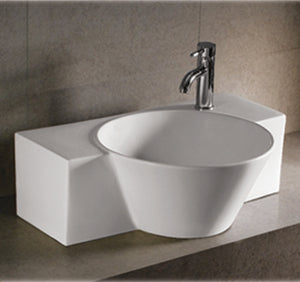 Isabella Collection Rectangular Wall Mount Bathroom Basin With Integrated Round Bowl, Single Faucet Hole And Center Drain