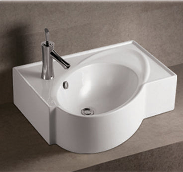 Isabella Collection Rectangular Wall Mount Bathroom Basin With An Integrated Oval Bowl, Overflow, Single Faucet Hole And Rear Center Drain