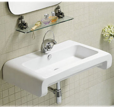 Isabella Collection Rectangular Wall Mount Basin With Overflow, Single Faucet Hole And Rear Center Drain
