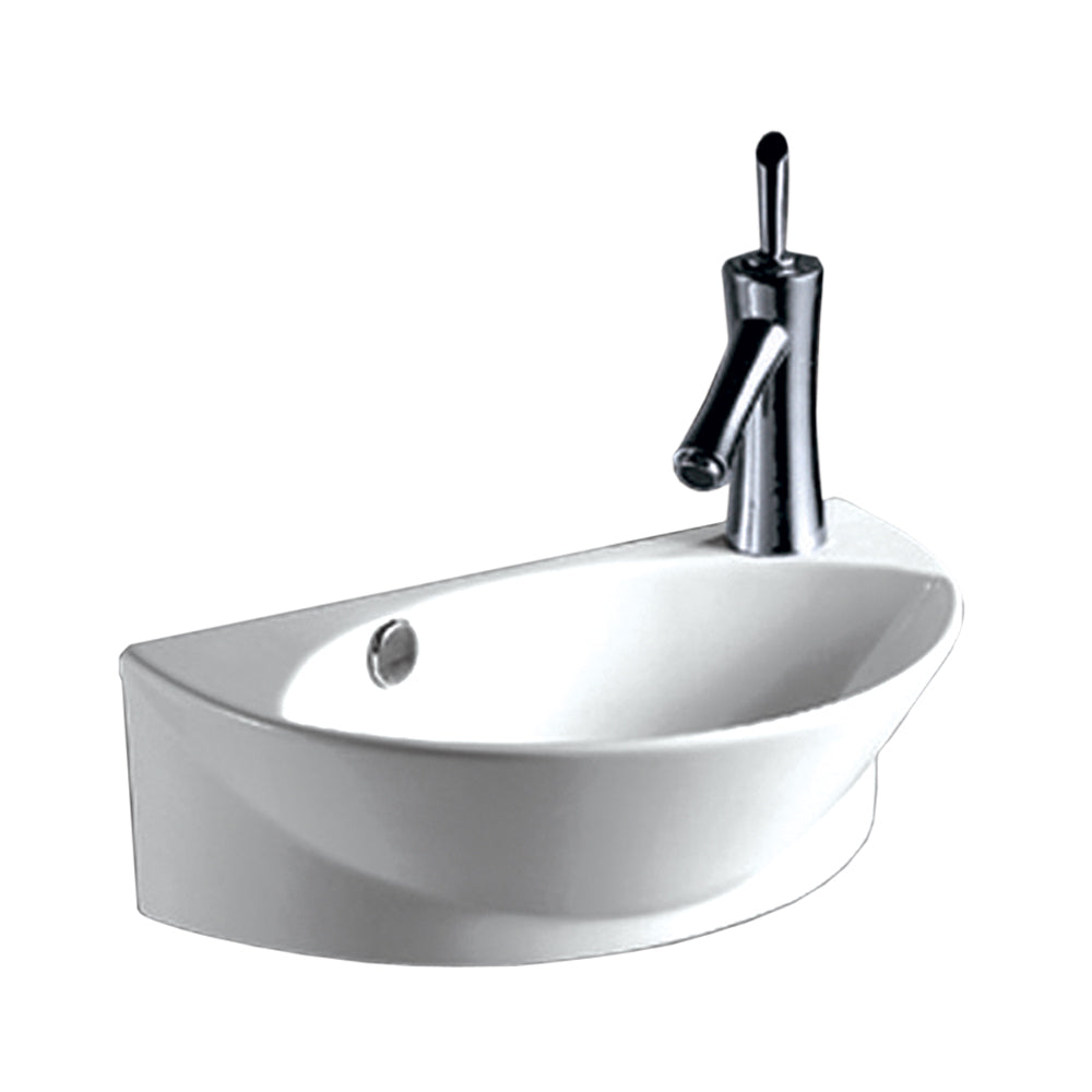 Isabella Collection Half-Oval Wall Mount Basin With Integrated Oval Bowl, Overflow, Right Offset Single Faucet Hole And Center Drain