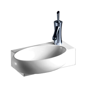Isabella Collection Rectangular Wall Mount Bathroom Basin With Integrated Oval Bowl And Right Offset Single Faucet Hole