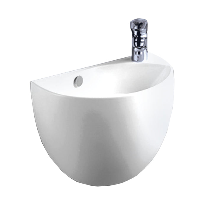 Isabella Collection Half-Oval Shaped Wall Mount Basin With Overflow, Right Offset Single Faucet Hole And Center Drain