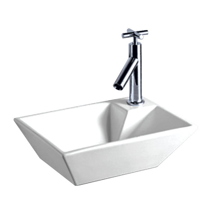 Isabella Collection Rectangular Wall Mount Basin With A Right Offset Single Faucet Hole