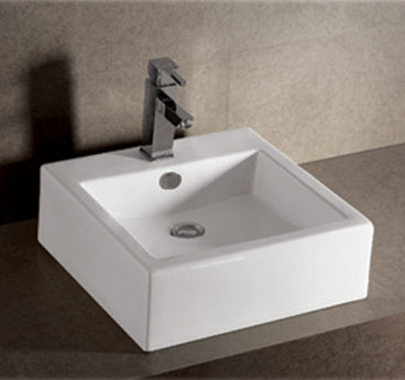 Isabella Collection Square Wall Mount Basin With Overflow, Single Faucet Hole And Rear Center Drain