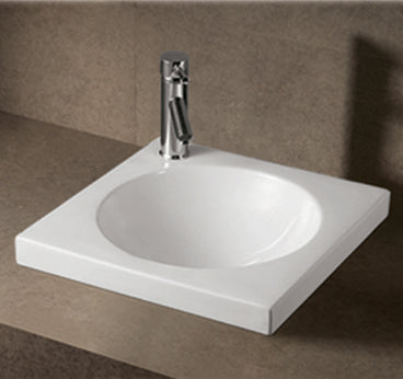 Isabella Collection Square Drop In Basin With An Integrated Round Bowl, Single Faucet Hole And Center Drain