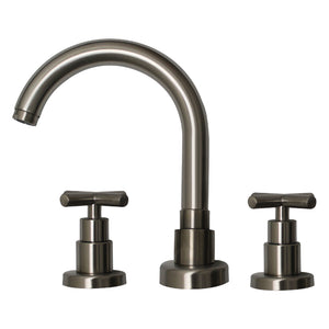 Luxe Widespread Lavatory Faucet With Tubular Swivel Spout, Cross Handles And Pop-Up Waste