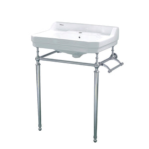 Victoriahaus Rectangular Basin China Console With Single Hole Faucet Drill,  Polished Chrome Leg Supports With Towel Bar, Backsplash, And Overflow
