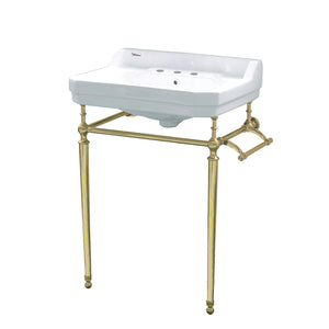 Victoriahaus Console With Integrated Rectangular Bowl With Polished Brass Leg Support, Interchangable Towel Bar, Backsplash And Overflow