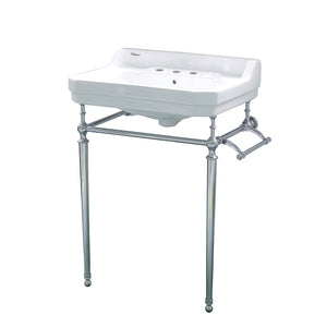 Victoriahaus Console With Integrated Rectangular Bowl, Polished Chrome Leg Support, Interchangable Towel Bar, Backsplash And Overflow
