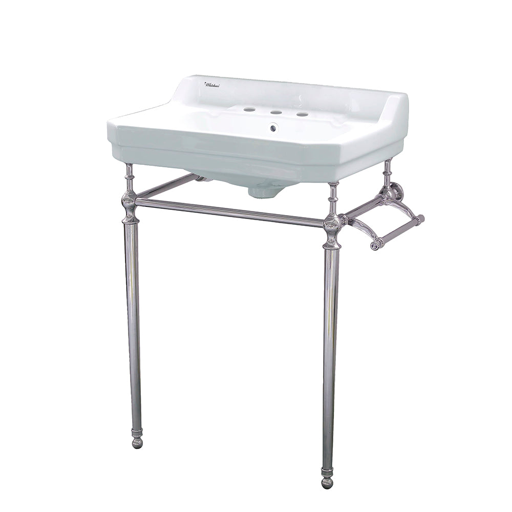 Victoriahaus Console With Integrated Rectangular Bowl Polished Nickel Leg Support, Interchangable Towel Bar, Backsplash And Overflow